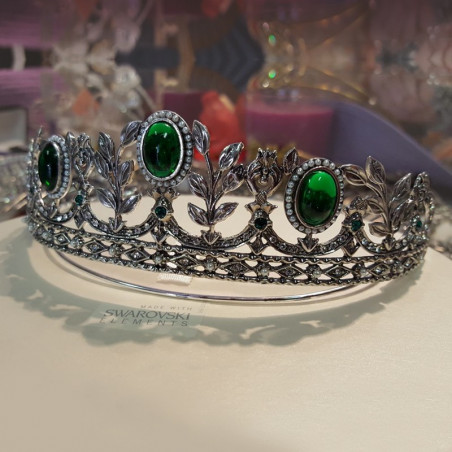 Tiara + pendientes Rusia, plata & swarovski, verde esmeralda