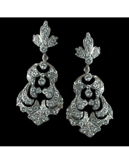 Pendiente Versalles, plata & swarovski